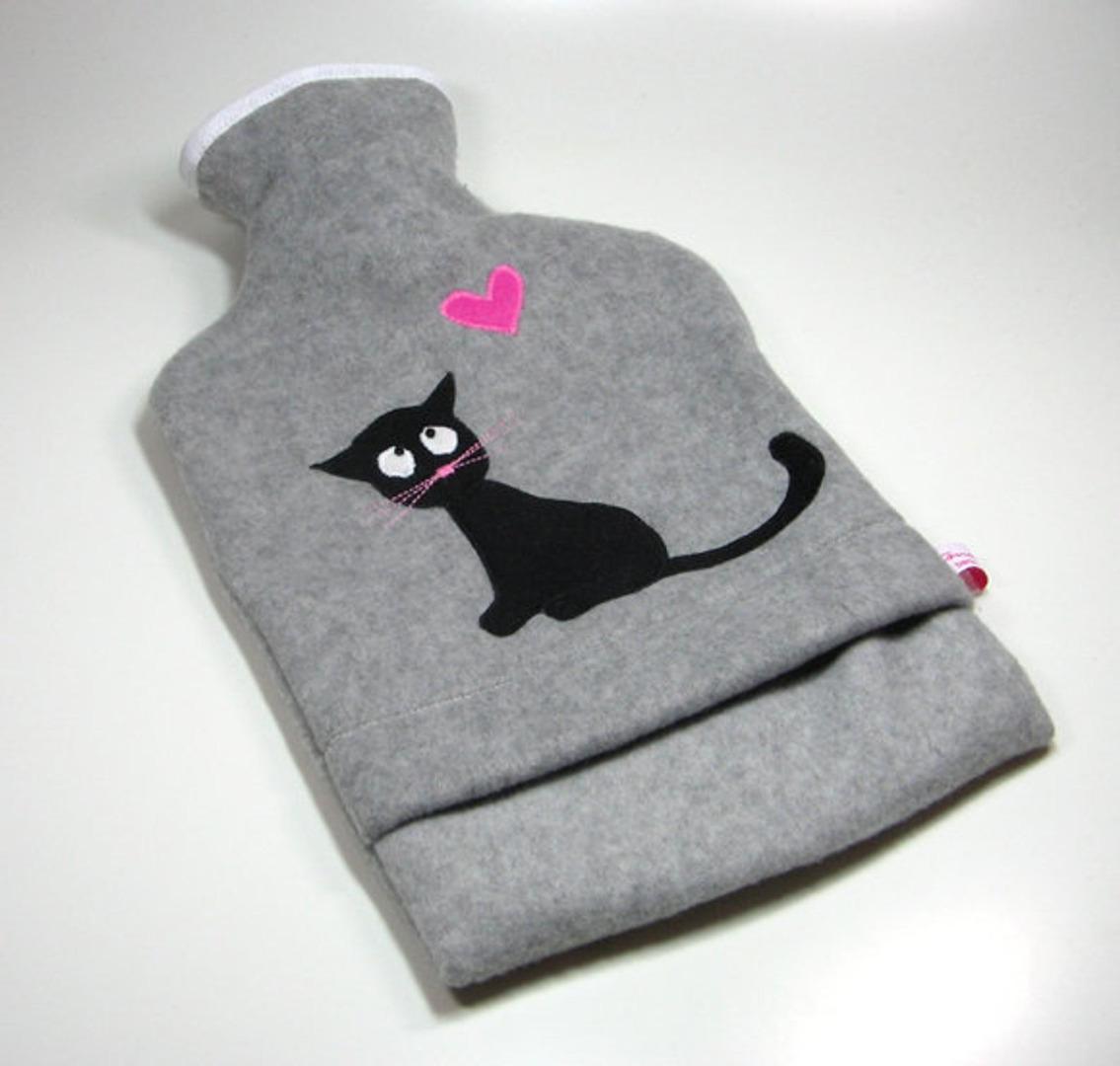Wärmflasche - Graumeliert mit schwarzer Katze