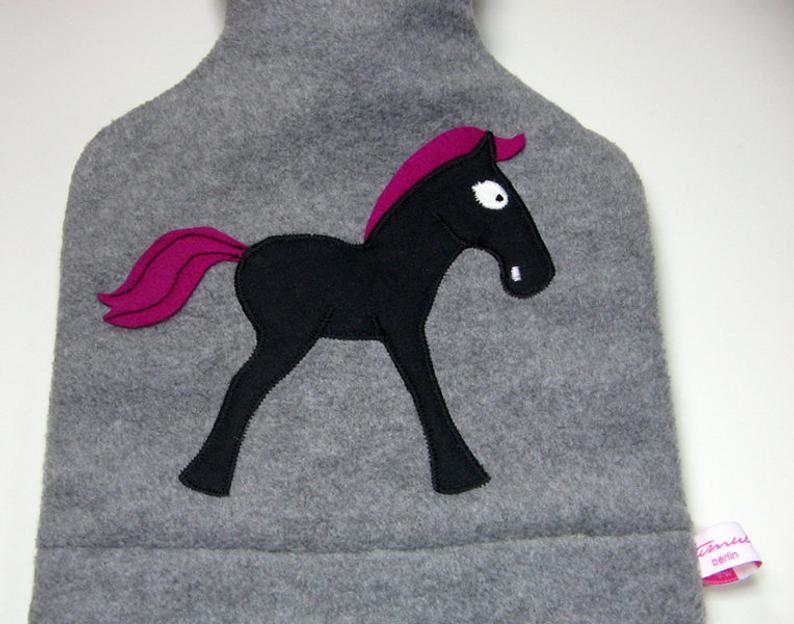 Wärmflasche - Graumeliert mit Pferd 3