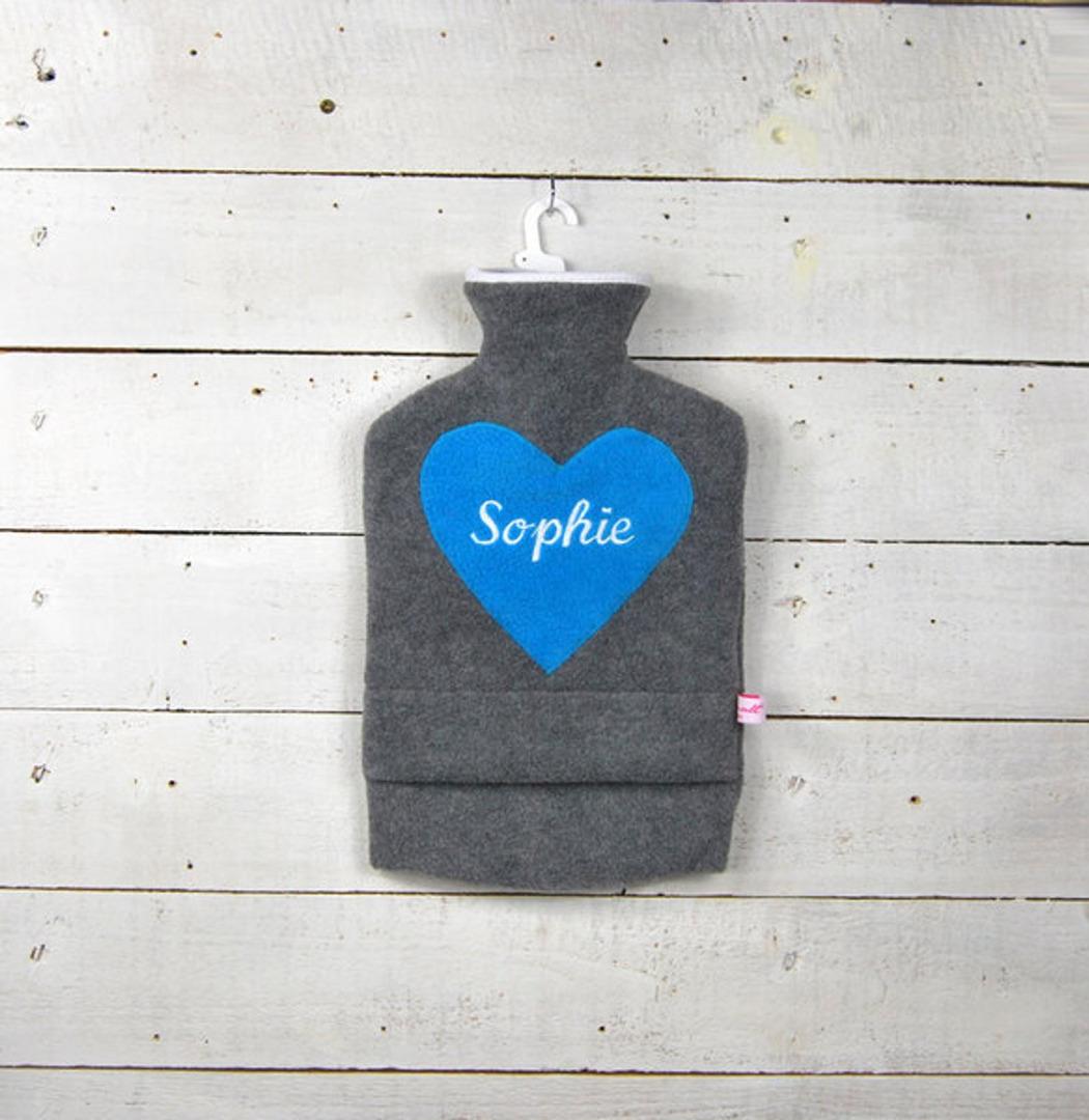 Personalisierte Wärmflasche mit türkisem Herz