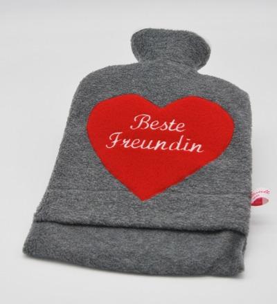 Bestickte Wärmflasche -Beste Freundin Herz in
