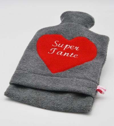 Bestickte Wärmflasche Super Tante Herz in