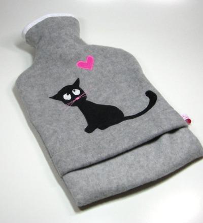 Wärmflasche Graumeliert mit schwarzer Katze Hülle