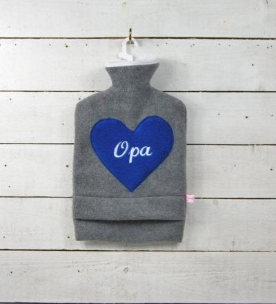 Bestickte Wärmflasche Opa Herz in Royalblau