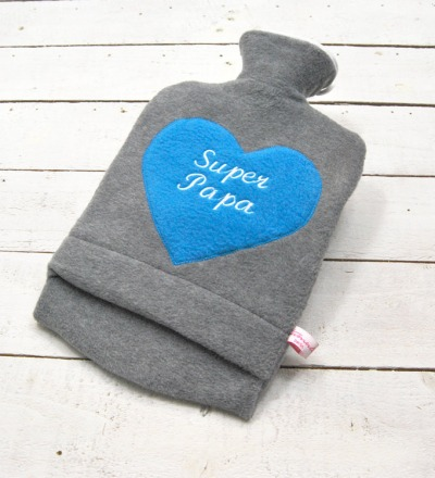 Bestickte Wärmflasche -Super Papa Herz in