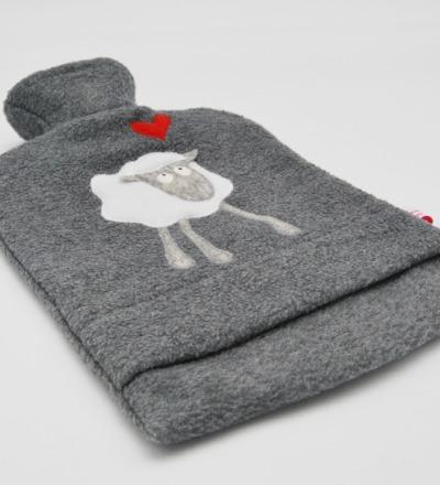 Wärmflasche Graumeliert mit weißem Schaf Hülle