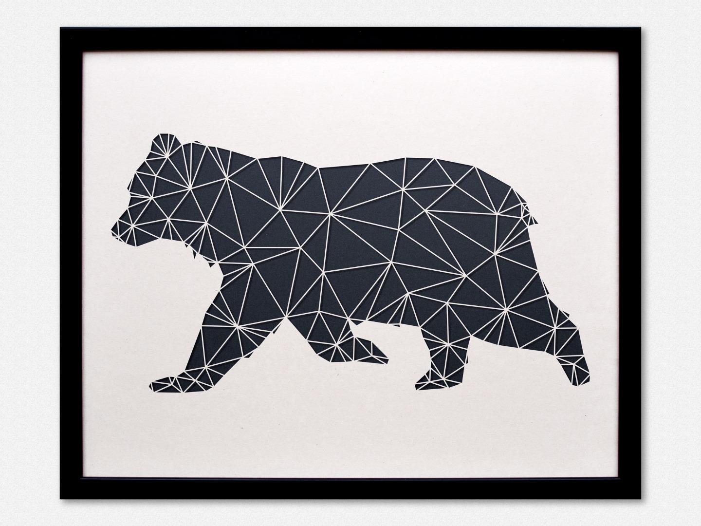 Geometrische Paper Art - Wanddeko BÄR