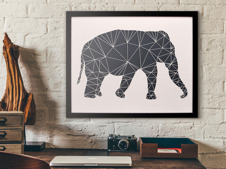 Geometrische Paper Art - Wanddeko ELEFANT