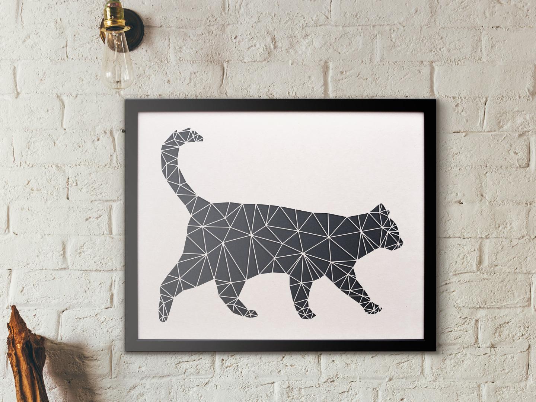 Geometrische Paper Art - Wanddeko KATZE