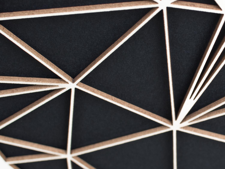 Minimalistische 3D Wanddekoration Polygon Kunst WOLF