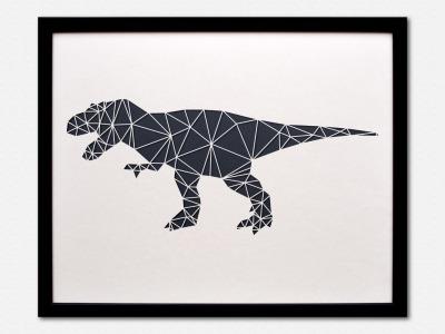 Geometrische Paper Art Wanddeko T-REX arborala