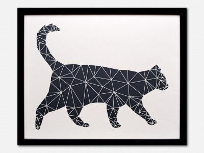 Geometrische Paper Art Wanddeko KATZE arborala