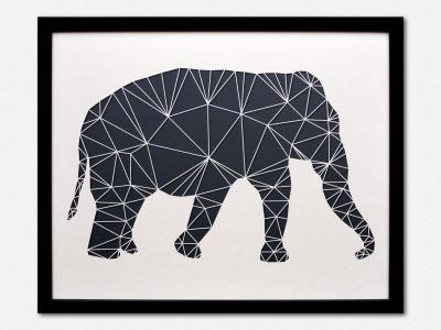 Geometrische Paper Art Wanddeko ELEFANT arborala