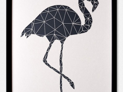 Minimalistische 3D Wanddekoration Polygon Kunst FLAMINGO