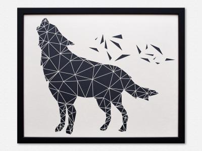 Geometrische Paper Art Wanddeko WOLF arborala