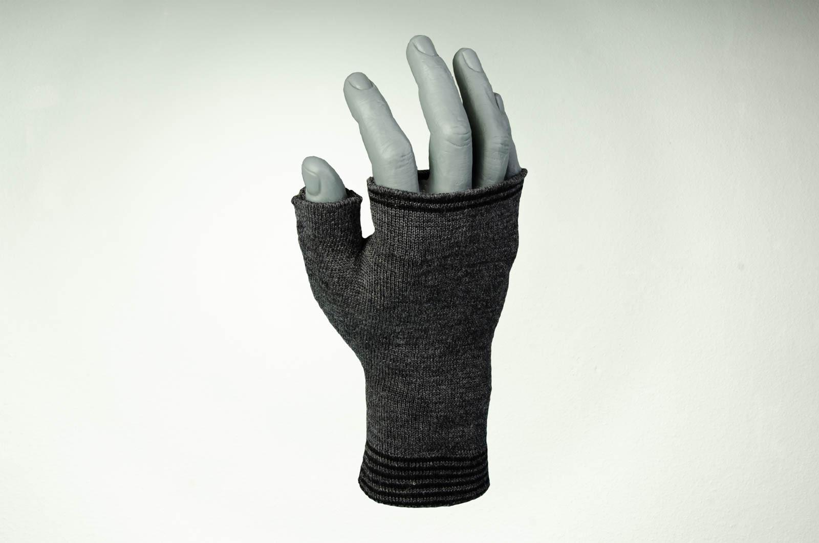 Merino Handwärmer Herren in dunkelgrau und