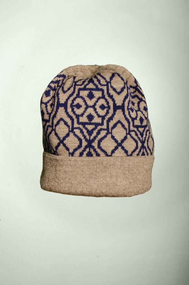 Merino Mütze Netz in dunkelblau und