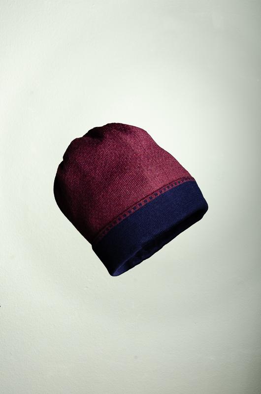 Merino Mütze und Pulswärmer in dunkelblau