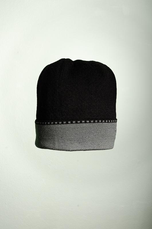 Merino Mütze uni in schwarz und