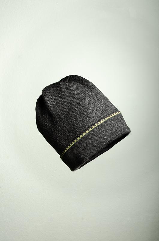 Merino Mütze uni in dunkelgrau und