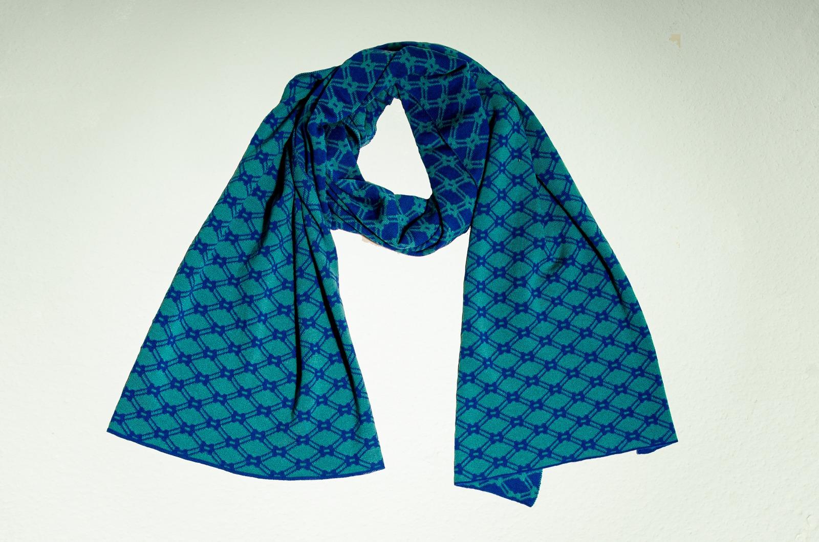 Merino Schal Netz II in blau