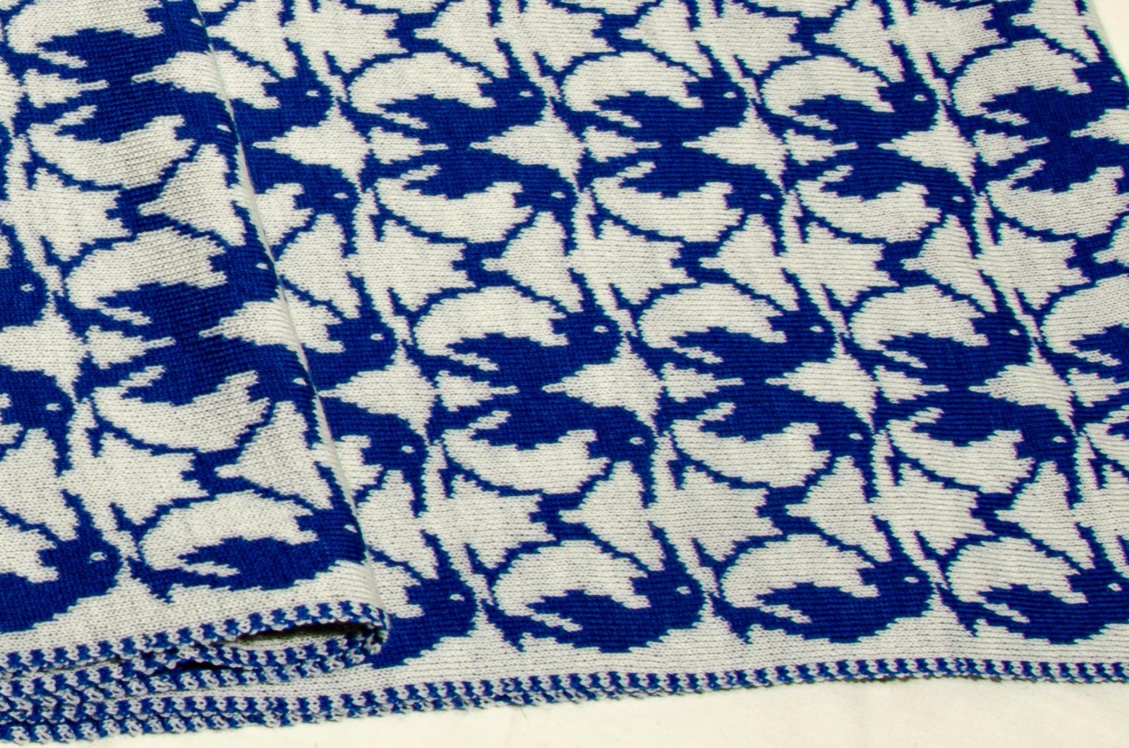 Merino Schal Pinguin in blau und