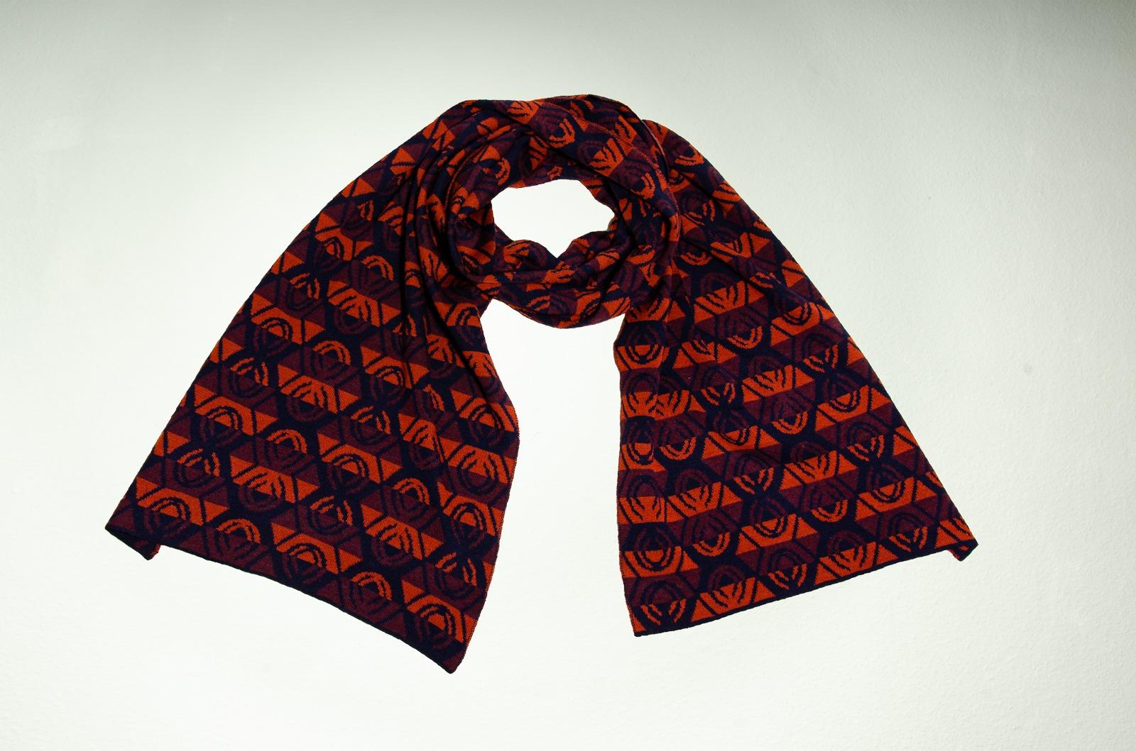 Merino scarf Lotus triple-couloured 3