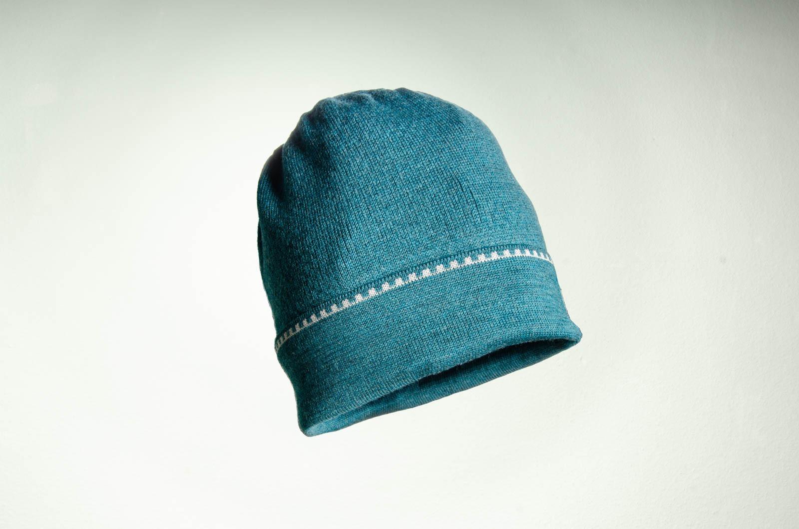 Merino Mütze in türkis und hellgrau