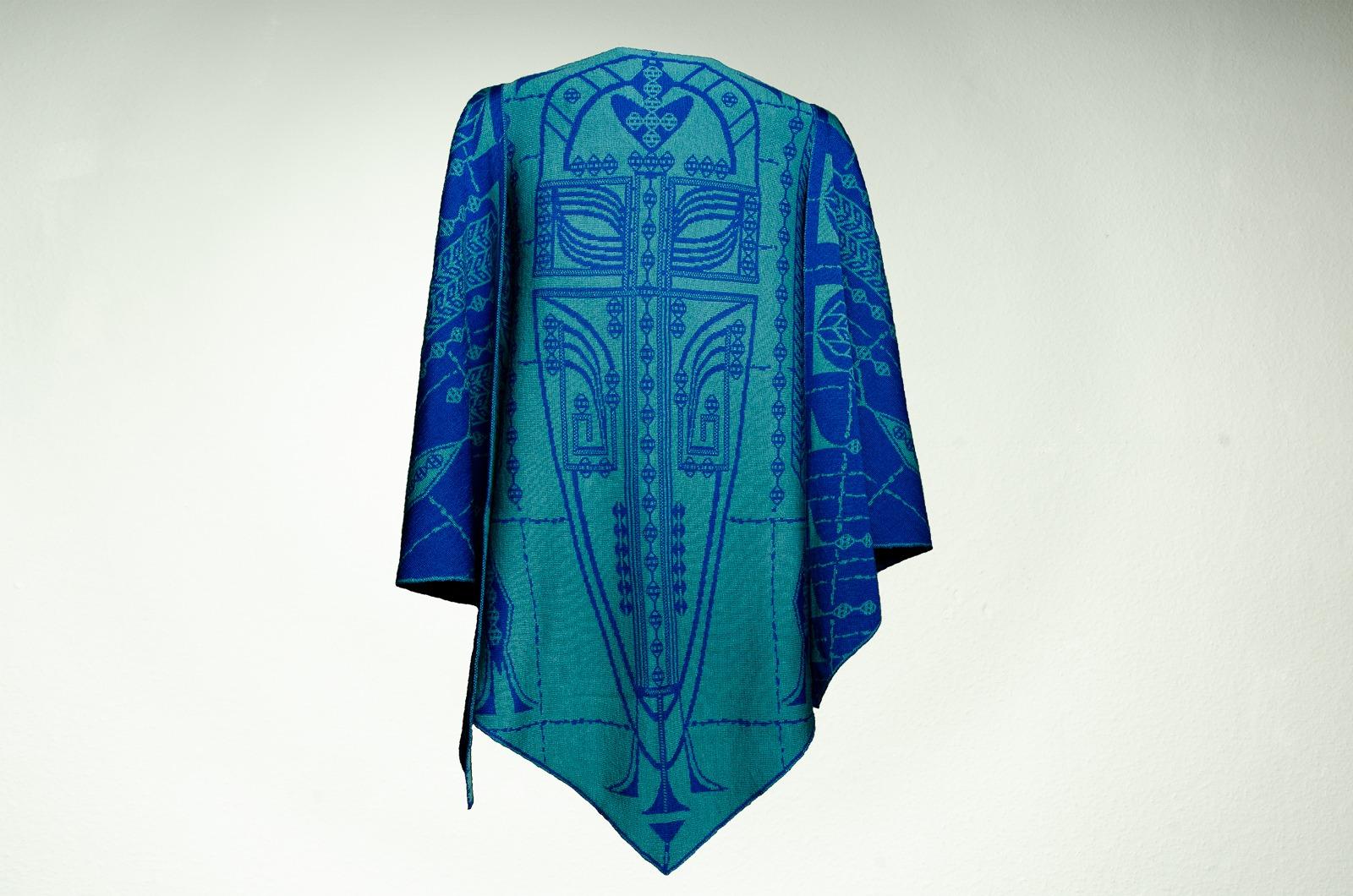 Merino Stola Damen in blau und