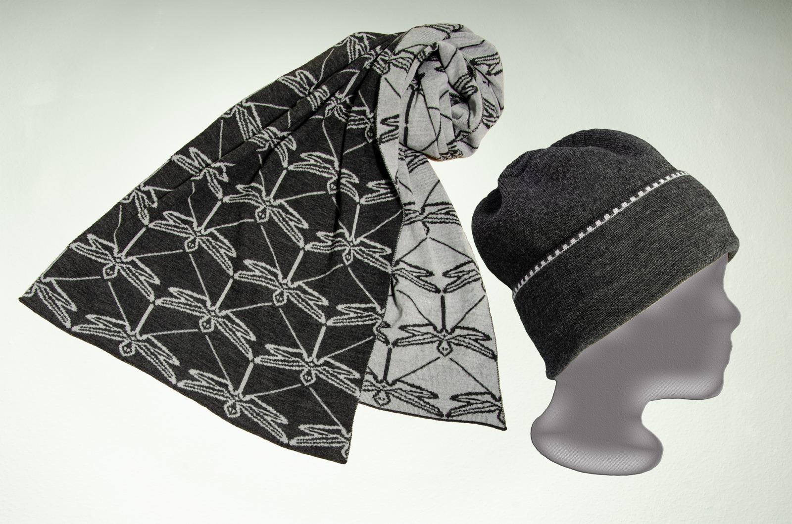 Merino Schal Libelle und Mütze uni