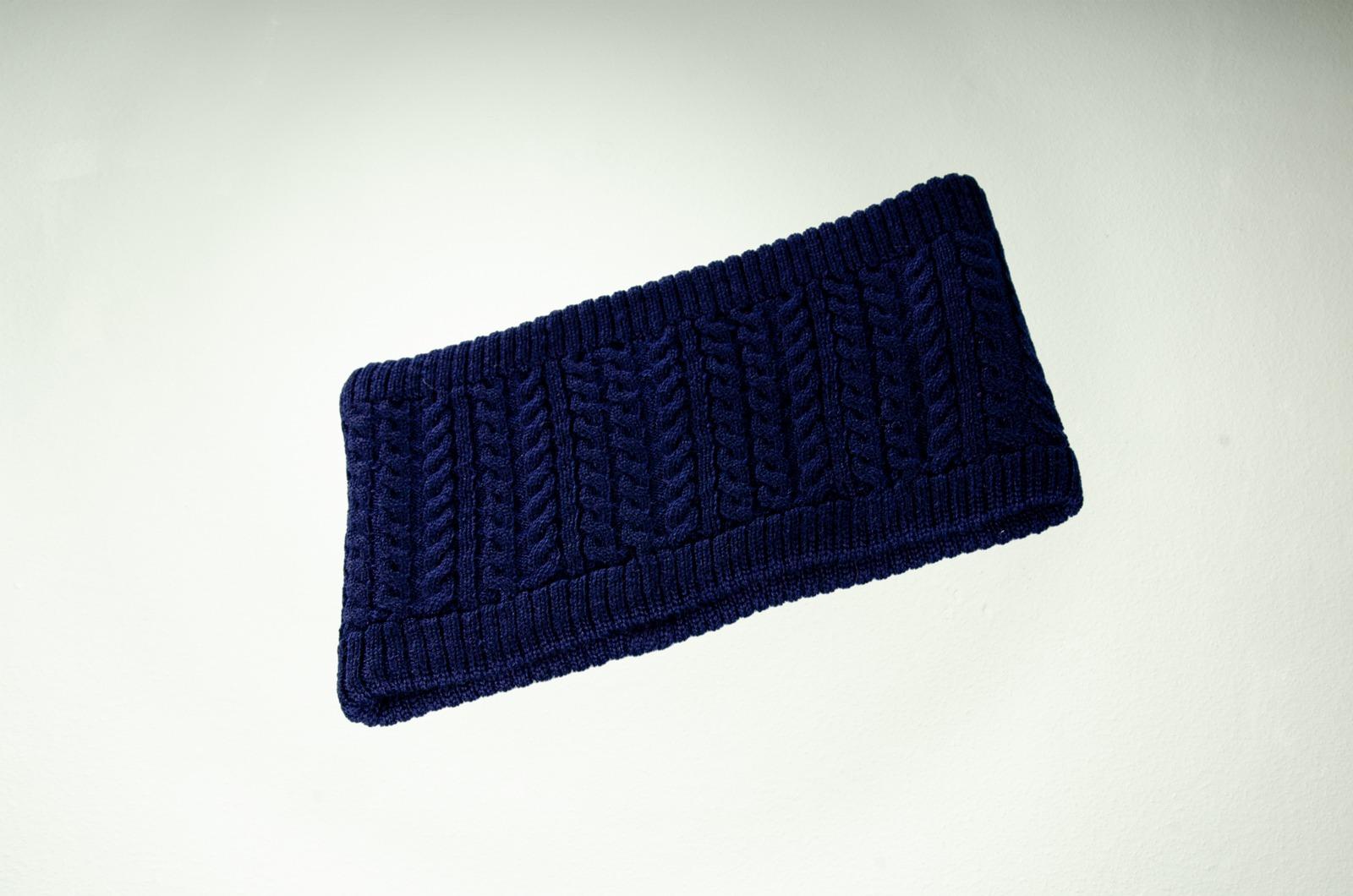 Stirnband Zopfmuster in dunkelblau