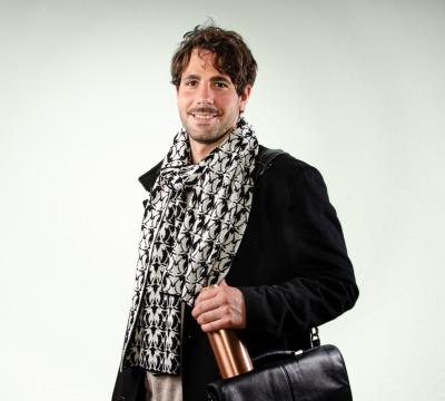Merino scarf Penguin - black &