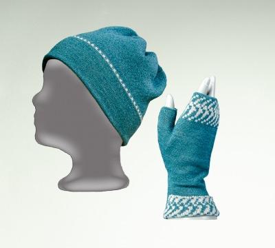 Merino Mütze und Pulswärmer uni in