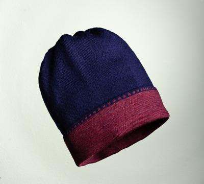 Merino Mütze Bundfarbe in dunkelblau und