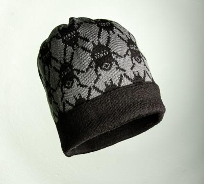 Merino Mütze Käfer in grau und