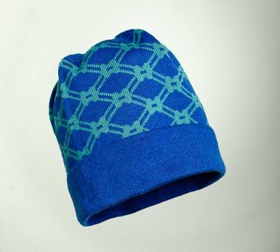 Merino Mütze Netz II in blau