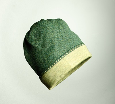 Merino Mütze Bundfarbe in dunkelgrün und
