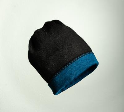 Merino Mütze Bundfarbe in schwarz und