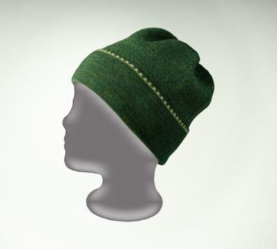 Merino Mütze uni in dunkelgrün und