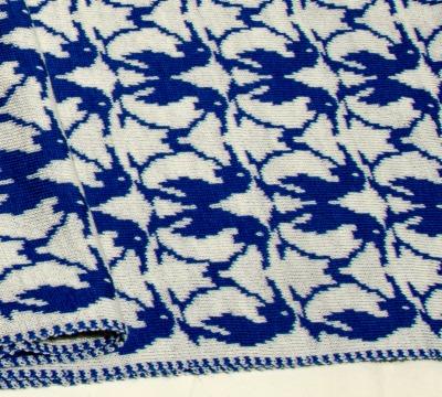 Merino scarf Penguin - royalblue &