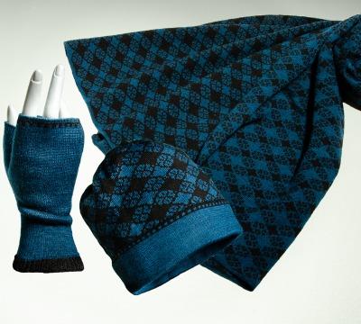 Merino Schal Mütze und Pulswärmer Blütenkaro