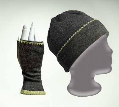 Merino Mütze und Pulswärmer Kranz in