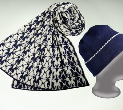 Merino Schal Pinguin und Mütze uni
