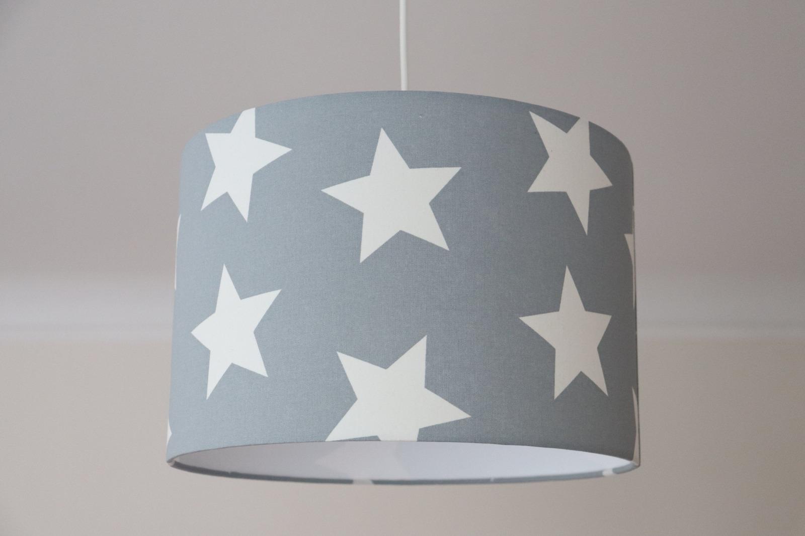 Lampenschirm Sterne, Wohnzimmer, Lampe Kinderzimmer grau, Kinderlampe,  Kinderzimmerlampe