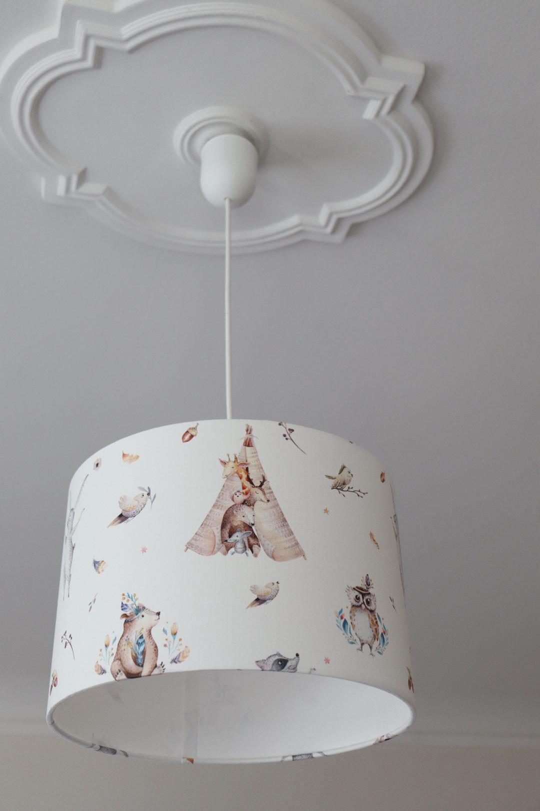 Lampe Kinderzimmer Lampenschirm Mädchen Kinderlampe Waldtiere Boho Kinderzimmerlampe Tiere Vögel Tipi Boho Lampe Boho Deko