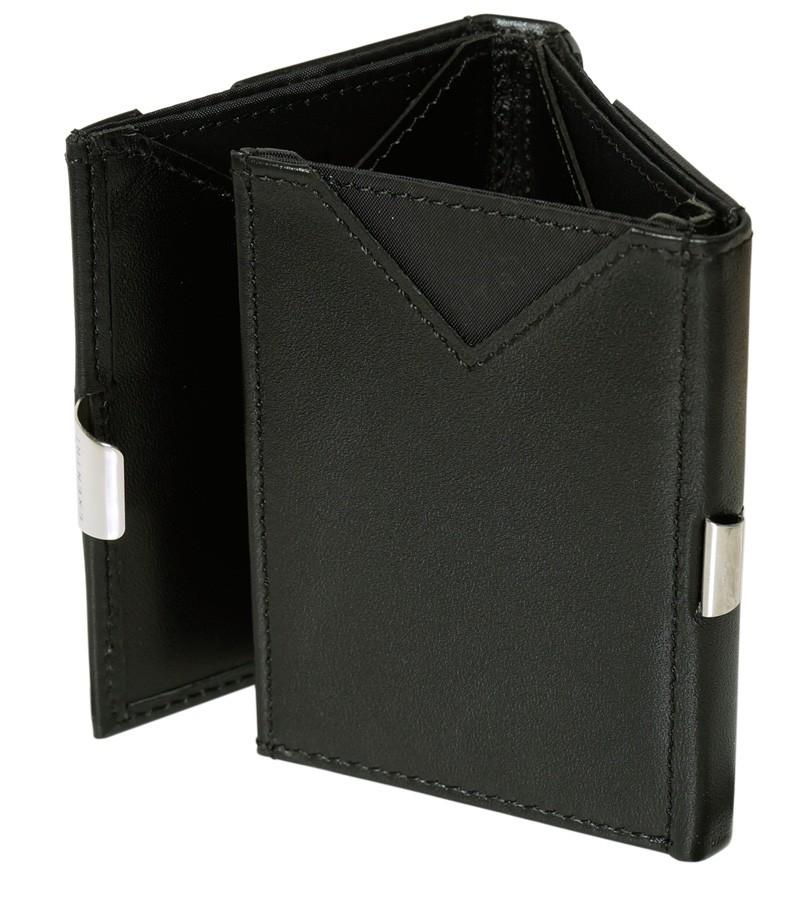 Exentri Wallet in schwarzem Glattleder
