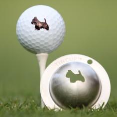 Tin Cup - Scotty the Terrier - Dieser Tin Cup ist eine Ball Schablone aus Edelstahl mit dem Design eines Terriers. Mit einem feinen und wasserfesten Stift laesst sich dann das Design auf den Golf Ball malen.