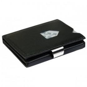 Exentri Wallet in schwarzem Glattleder - Die smarte Mini - Geldboerse von Exentri erlaubt Ihnen Geldscheine und Karten muehelos und sehr uebersichtlich zu verwalten. Kein gefalte mehr von Geldscheinen.