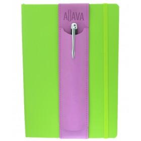 Aljava Stiftehalter fuer DinA5 Notizbuecher aus Kunstleder - Ein tolles und stilvolles Stifteetui welches direkt auf das Notizbuch gezogen wird. Ohne es fest zu kleben. Einfach wieder fuer das naechste Buch wieder zu verwenden.