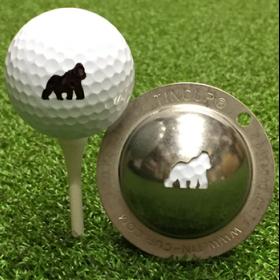 NEU Tin Cup - Gorilla - Dieser Tin Cup ist eine Ball Schablone aus Edelstahl mit dem Design eines Gorillas. Mit einem feinen und wasserfesten Stift laesst sich dann das Design auf den Golf Ball malen.