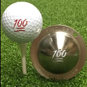 NEU Tin Cup - Max Effort - Dieser Tin Cup ist eine Ball Schablone aus Edelstahl mit dem Design einer 100 . Mit einem feinen und wasserfesten Stift laesst sich dann das Design auf den Golf Ball malen.
